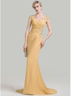 Trumpet/Mermaid V-neck Sweep Train Ruffle Beading Appliques Lace Sequins Zipper Up Covered Button Cap Straps Sleeveless No Gold Spring Summer Fall General Plus Chiffon Evening Dress