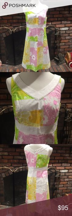 Lilly Pulitzer Del Mar dress size 8 Lilly Pulitzer Del Mar dress size 8.  Beautiful patchwork print.  Pink sections have raccoons in print.  Yellow has flowers.  Green has flowers and strawberries.  White has white on white print.  Excellent condition, fabric is still crisp. Lilly Pulitzer Dresses