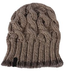 Cable knit beanie in taupe