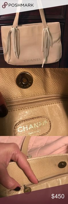 🆕💯 CHANEL TOTE🎄 🆕💯 Authentic Chanel Tote - Loved but has a lot of life left. Touched up piping with leather paint and around handles. There are some pen markings on the interior and one of the pockets is missing a zipper pull. Large enough to carry an iPad, small laptop, books - all the essentials. It's the perfect color for all seasons. *SERIOUS BUYERS ONLY/SELECT TRADES - TRADE VALUE HIGHER🎄 CHANEL Bags Totes