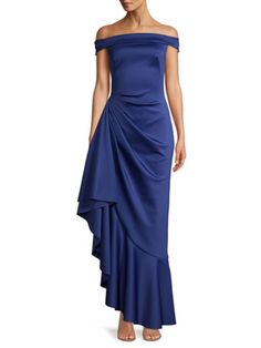 Blue Dresses, Formal Dresses, Saks Fifth Avenue, Evening Gowns, Halo, My Style, Shoulder, Fabric, How To Wear