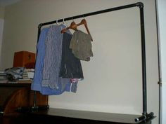 Home DIY/Buys Free-standing clothing rack - So painfully easy, I wonder why anyone would even pay fo Portable Clothes Rack, Diy Clothes Rack, Standing Clothes Rack, Rack Solutions, Red Carpet Looks, Simple Designs, Wardrobe Rack, Living Spaces, Living Rooms