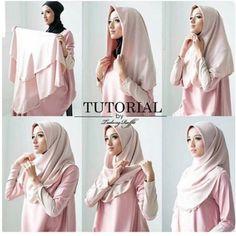 Hijab Simple, Simple Hijab Tutorial, Hijab Style Tutorial, Hijab Style Dress, Casual Hijab Outfit, Hijab Styles For Party, How To Wear Hijab, Moslem Fashion, Turban Hijab