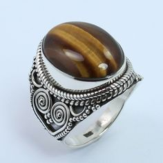 925 Sterling Silver Vintage Jewelry Ring Size US 6.75 Real TIGER'S EYE Gemstone #Unbranded