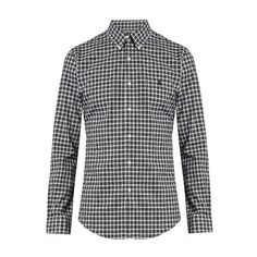Polo Ralph Lauren Slim-fit checked cotton shirt ($66) ❤ liked on Polyvore featuring men's fashion, men's clothing, men's shirts, black white, mens slim shirts, mens slim fit shirts, black and white mens shirt, slim fit mens clothing and mens embroidered shirts