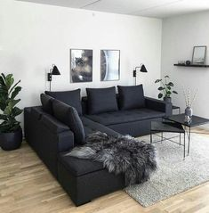 affordable apartment living room design ideas on a budget ~ Home of Magazine Living Room Decor Cozy, Living Room Interior, Home Living Room, Living Room Designs, Decor Room, Living Room Ideas Dark Couch, Black Living Room Furniture, Apartment Living Rooms, White Bedroom Decor