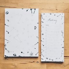 #kgostationery: Feeling space-y today with our A5 and DL sized intergalactic pattern planners . I love having a couple of black and white planners on my desk (everything is usually so full of colour!) and using them to scribble down ideas and keep my to do list in order .