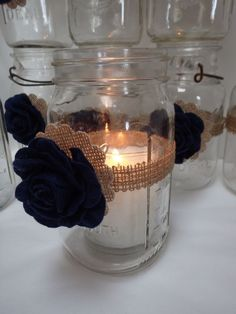 10 Burlap Mason Jar Blue Flowers Country Wedding Party Decorations F9 #BurlapBrides