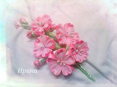 Sakura by Irina Diy Lace Ribbon Flowers, Cloth Flowers, Kanzashi Flowers, Fabric Flowers, Paper Flowers, Ribbon Crafts, Flower Crafts, Fabric Crafts, Japanese Colors