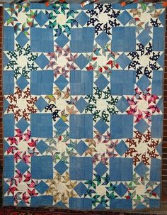 "DAZZLING 30s Vintage Touching Stars ""Flying Swallows"" Antique Quilt ~RARE DESIGN 