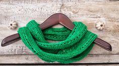 100% Merino Wool Hand Knitted Green Infinity Scarf