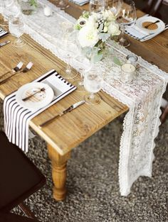 #lace, #farm-tables, #table-runners, #stripes  Photography: Erich McVey Photography - erichmcvey.com Coordination: Luxe Event Productions - LuxeProductionsNW.com Floral Design: Vibrant Table - vibranttable.com  Read More: http://www.stylemepretty.com/2013/03/28/oregon-wedding-from-erich-mcvey-photography/