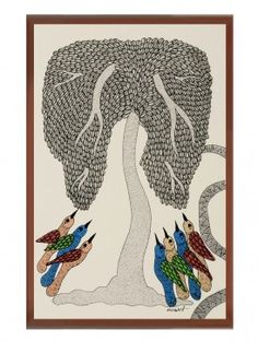 Multi-Color Framed Gond Wall Art 14.3in x 10.1in