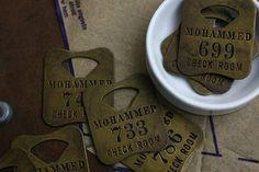 Vintage coat check tags
