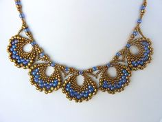 Peyote Fan Earring components made into a lacy necklace. #Seed #Bead #Tutorials
