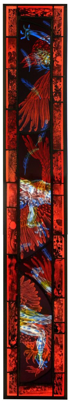 Courtesy of the Artist and Claire Oliver Gallery    Judith Schaechter    Icarus    Stained glass lightbox    51 x 8 x inches
