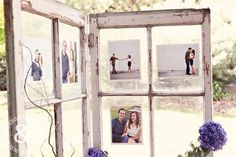 We love the use of an old window pane! This was on display for a reception, with photos of the bride and groom behind the glass.