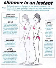 Droopy neck and boobs, rounded shoulders, crushed ribs, belly pouch - just a few of the problems caused by bad posture, and that's only the visible, not counting all the damage it's doing to your internal organs!
