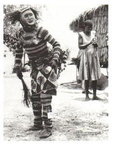 Field photo from a post card featuring a Lwena Pwevo/Pwo performer… African Masks, African Art, Ap Art History 250, Congo, All About Africa, White Face Mask, Mask Dance, Art Premier, Tribal People