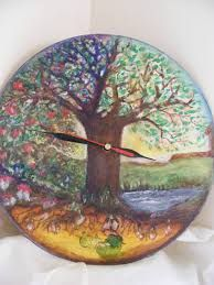 Image result for wooden hand painted clock waldorf fairydolls craft