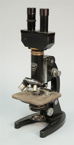 """CARL ZEISS MICROSCOPE, marked Carl Zeiss, Jena, Germany, nr. 268695 and Bausch & Lomb Optical Co; height: 17"""""""