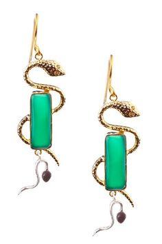 Serpentine earrings green agate HauteLook