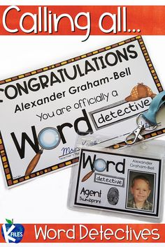 These editable Word Detective Badges and Certificates are an exciting tool to motivate your students during Reader's Workshop as they decode unfamiliar words!There are two printing options for the badges: First Grade Lessons, First Grade Activities, Reading Activities, Word Study, Word Work, Motivational Activities, Just Right Books, Read To Someone, Read To Self