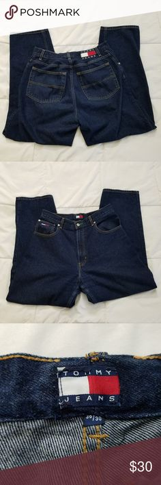 """Tommy Hilfiger Jeans Men's 36 x 30 Big Box Logo Good Used Condition  Tommy Hilfiger Jeans Style: Tapered Leg Tag Size: 36 x 30 Wash: Dark  Measurements are taken laid flat:  Inseam - 30"""" Waist - 16"""" Bottom of Leg - 8""""  Jeans come from a smoke and pet free home. Tommy Hilfiger Jeans Straight"""