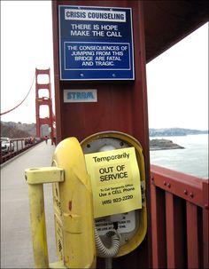 Suicide prevention message on the Golden Gate Bridge