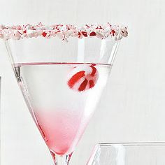 Leftover candy cane Peppermint Martini! Need to remember this for next Christmas too!
