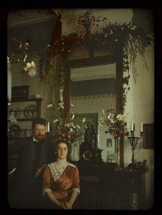"""Self-Portrait of Jacob Olie Jr and his wife Tini"" - Autochrome photograph by Dutch photographer, Jacob Olie Jr, 1913."