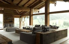 Contemporary Chalet With Rustic Atmosphere rustic contemporary interior design Modern Rustic Homes, Modern Rustic Decor, Rustic Contemporary, Contemporary Interior Design, Modern Rustic Interiors, Beautiful Interiors, Modern Interior, Rustic Design, Interior Photo
