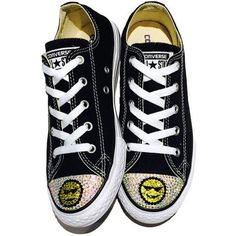 Women's Emoji Blinged Converse Low Top Shoes. Custom Shoes. Emoji... (76.865 CLP) ❤ liked on Polyvore featuring shoes, sneakers, converse footwear, converse sneakers, low top, converse trainers and low profile shoes