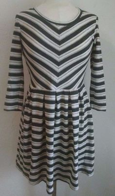 Anthropologie Puella Dress XS Gray Midday Stripe Pleated Waist 3/4 Sleeves #Anthropologie #Sheath #Casual