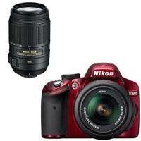BEST SALE Nikon D3200 Digital SLR Camera  18-55mm G VR DX AF-S Zoom Lens (Red) with 55-300mm VR DX Lens