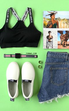 Black Letter Print Y Back Sports Bra with denim shorts and white sneakers - for sport