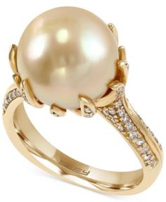 EFFY South Sea Pearl (11-1/2mm) and Diamond (3/8 ct. t.w.) Ring in 14k Gold