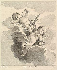 Deux Amours dont un tient un couronne (Two Loves, one of which holds a crown), from Quatrieme Livre de Groupes d'Enfans (Fourth Book of Groups of Children)