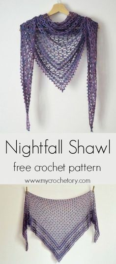 Treat yourself to a little bit of luxury and make your own Nightfall Shawl. It's a wonderful, gentle triangle shaped shawl that has been designer to be crochet in lace weight yarn. Poncho Au Crochet, Crochet Shawls And Wraps, Crochet Scarves, Crochet Stitches, Tunisian Crochet, Lace Shawls, Knitted Shawls, Crochet Granny, Crochet Cape