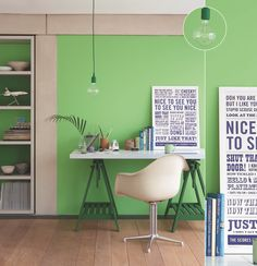 Really cute desk area, with walls painted with Little Greene's colours from the 1960s and 70s. Yummy green!