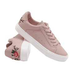 Faux Leather Embroidery Flower Skate Shoes (255 GTQ) ❤ liked on Polyvore featuring shoes, sneakers, pink shoes, vegan shoes, embroidered shoes, faux leather shoes and vegan trainers