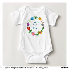 Monogram Bodysuit Letter Z Frame Flowers. new baby boy gift, first birthday, or Christmas gift for a boy whose name begins with Z: Zach, Zachary, Zac, Zack, Zane, Zain, Zander, Zandy, Zahar, Zahir, Zan, Zaki, Zaedon, Zeek, Zehavi, Zen, Zelig, Zel, Zelfa, Zeno, Zenas, Zabi, Zakari, Zakaria, Zaim, Zeo, Zephire, Zif, Ziv, Zivon, Ziya, Ziggy, Zimri, Zino, Zio, Zoltan, Zoltar, and so on. There are two types of cursive Z letters to choose from + all the other monograms of the English alphabet