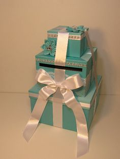 Tiffany blue Wedding Card Box Gift Card Box Money Box Holder--Customize your color via Etsy