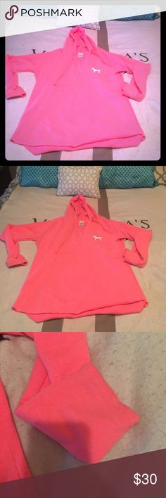 VS PINK HOODIE! 💕 Great Condition super cute oversized hoodie! (Runs really big) The back is such a cute design! Very minor piling. This is so cute over anything a tank, a sports bra, even a swimsuit, it's big and comfy and really cute! FEEL FREE TO ASK ANY QUESTIONS! OPEN TO OFFERS THROUGH THE OFFER BUTTON! BUNDLE AND SAVE! 💰 PINK Victoria's Secret Tops Sweatshirts & Hoodies