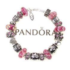 Already Made Pandora Bracelets   Authentic Pandora Bracelet Pink Murano Bead Live Love Laugh Joy Words ...