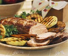 Apple-Marinated Pork Roast with Grilled Apple Rings #SundaySupper