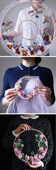 Olga Prinku real floral wreath weaves // hoop art // unconventional hoop art // flower crafts While many artists create hoop art with embroidery thread, Olga Prinku has a different approach. She creates floral wreath weavings with real blooms. Embroidery Hoop Art, Ribbon Embroidery, Cross Stitch Embroidery, Embroidery Patterns, Floral Embroidery, Diy Broderie, Diy And Crafts, Arts And Crafts, Flower Crafts