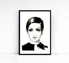 Watercolor Fashion Illustration / Twiggy / Giclee / by denacooper