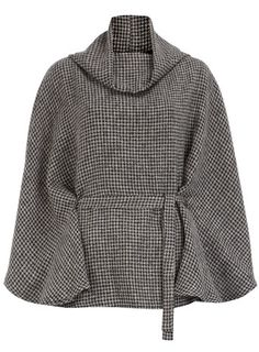 I would love a classic houndstooth jacket. I really like the cut of this cape: cowl neck, flow-y but cinched at the waist.