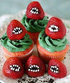 With some Oreo crumbs and a little white icing, juicy red strawberries are transformed into monstrous creatures (that also happen to taste really good!). You can serve the strawberries on their own if you don't have time to make or buy the cupcakes.